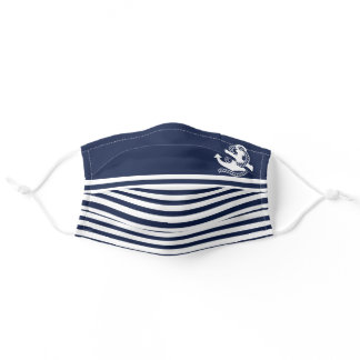 Nautical Navy blue White Stripes and White Anchor Adult Cloth Face Mask