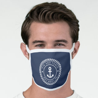 Nautical Navy & White Anchor Boat Name Face Mask