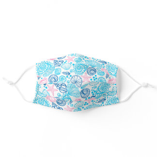 Nautical Pink And Blue Ocean Seashell Adult Cloth Face Mask