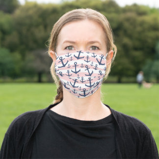 Nautical pink stripe navy blue anchor pattern adult cloth face mask