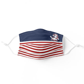 Nautical Red White Stripes and Red Anchor Adult Cloth Face Mask