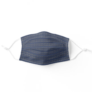 Nautical sea wave pattern blue gold chic adult cloth face mask