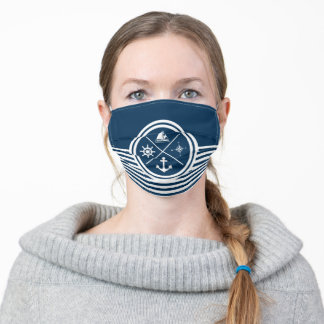 Nautical themed design adult cloth face mask