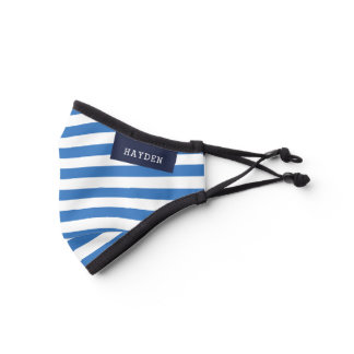 Navy and Blue Stripes Monogrammed Premium Face Mask