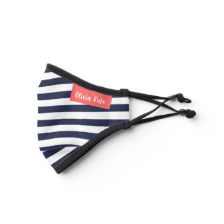 Navy and Coral Stripes Monogrammed Premium Face Mask