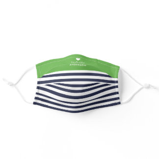 Navy and Green Stripes Heart Monogram Adult Cloth Face Mask