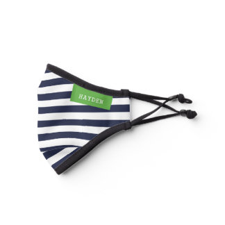 Navy and Green Stripes Monogrammed Premium Face Mask