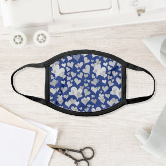 Navy and Grey Dark Heart Pattern - Cute & Elegant Face Mask