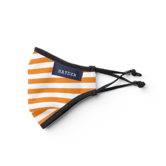 Navy and Orange Stripes Monogrammed Premium Face Mask