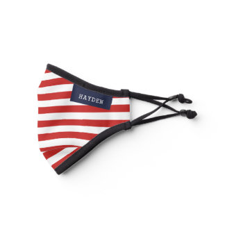 Navy and Red Stripes Monogrammed Premium Face Mask