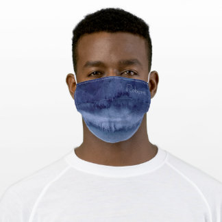 Navy Blue Abstract Waves  Adult Cloth Face Mask