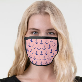 Navy Blue anchors pattern on Light coral pink Face Mask