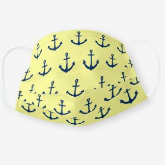 Navy Blue anchors pattern on Light Pastel Yellow Cloth Face Mask