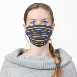 Navy Blue And Gold Stripes Pattern Adult Cloth Face Mask