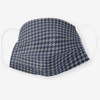 Navy Blue And Gray Houndstooth Men's Cloth Face Mask