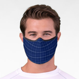 Navy Blue And Grey Plaid Premium Face Mask