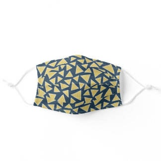 Navy Blue And Mustard Yellow Triangle Geometric Adult Cloth Face Mask