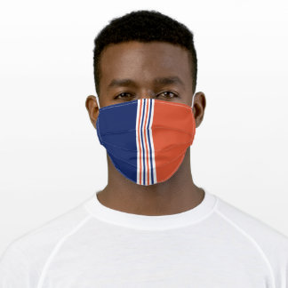 Navy Blue and Orange Stripes Adult Cloth Face Mask