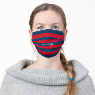 Navy Blue and Red Rugby Stripes with Custom Name Adult Cloth Face Mask