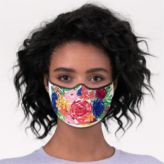 Navy Blue and Red watercolor boho chic Flowers Premium Face Mask