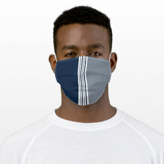 Navy Blue and Silver Gray Stripes Adult Cloth Face Mask