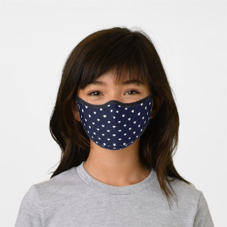 Navy Blue and White Heart Pattern Premium Face Mask