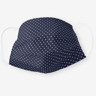 Navy Blue and White Tiny Dots Pattern Cloth Face Mask