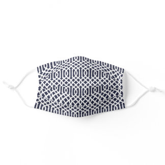 Navy Blue and White Trellis Pattern Adult Cloth Face Mask