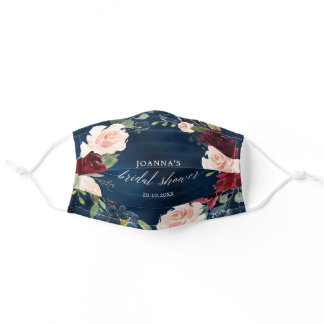 Navy Blue Burgundy Blush Pink  Bridal Shower Adult Cloth Face Mask