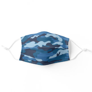 Navy blue camouflage adult cloth face mask