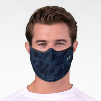 Navy blue Camouflage custom monogram Premium Face Mask