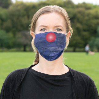 Navy Blue Fractal Texture with Red Nose Adult Cloth Face Mask