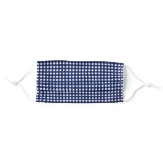 navy blue gingham adult cloth face mask