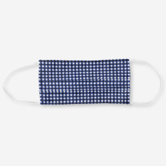 navy blue gingham cloth face mask