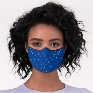 Navy Blue  Gold Stars Name Monogram Premium Face Mask