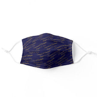 Navy Blue & Gold Wedding Couple's Names & Date Adult Cloth Face Mask