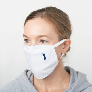 Navy Blue Golfer Silhouette White Cotton Face Mask