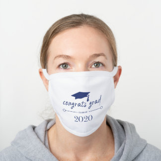Navy Blue Graduation Class of 2020 Congrats White Cotton Face Mask
