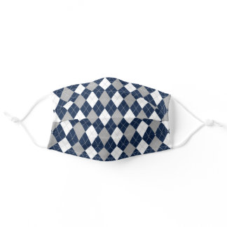 Navy Blue Gray White Argyle Diamond Pattern Adult Cloth Face Mask