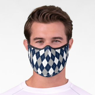 Navy Blue Gray White Argyle Diamond Pattern Premium Face Mask