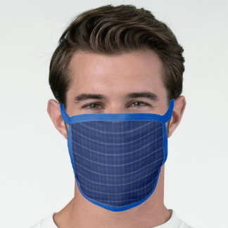 Navy Blue & Grey Plaid Face Mask