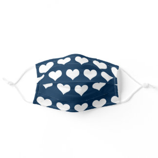 Navy Blue Hearts Adult Cloth Face Mask