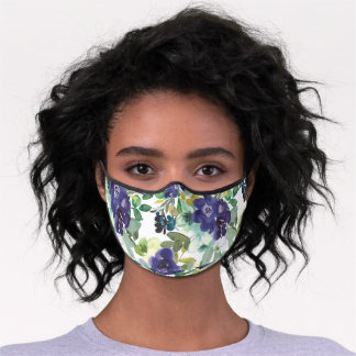 Navy Blue Mint Green Watercolor Flowers Leaves Premium Face Mask