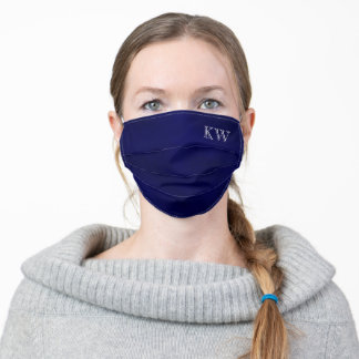Navy Blue Monogrammed Initials Classy Stylish Adult Cloth Face Mask