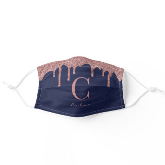 Navy Blue Rose Gold Dripping Glitter Monogram Adult Cloth Face Mask