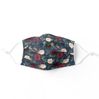 Navy | Burgundy & Blush Watercolor Floral Pattern Adult Cloth Face Mask