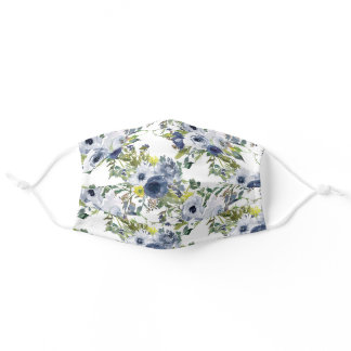 Navy Dusty Blue Yellow Watercolor Floral White Adult Cloth Face Mask