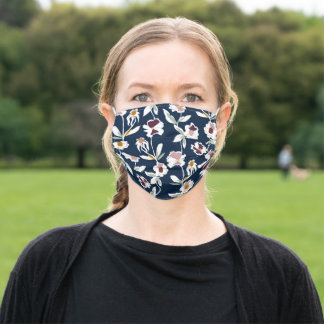 Navy Floral Nature Pattern Collage  Adult Cloth Face Mask