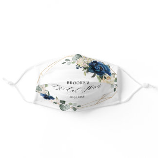 Navy Gold Champagne Ivory Geometric Bridal Shower Adult Cloth Face Mask