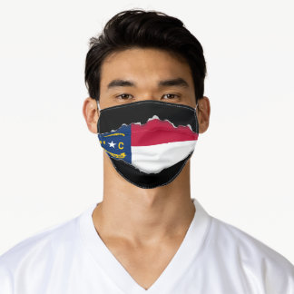 NC state Flag | Faux Torn Out Look Adult Cloth Adult Cloth Face Mask